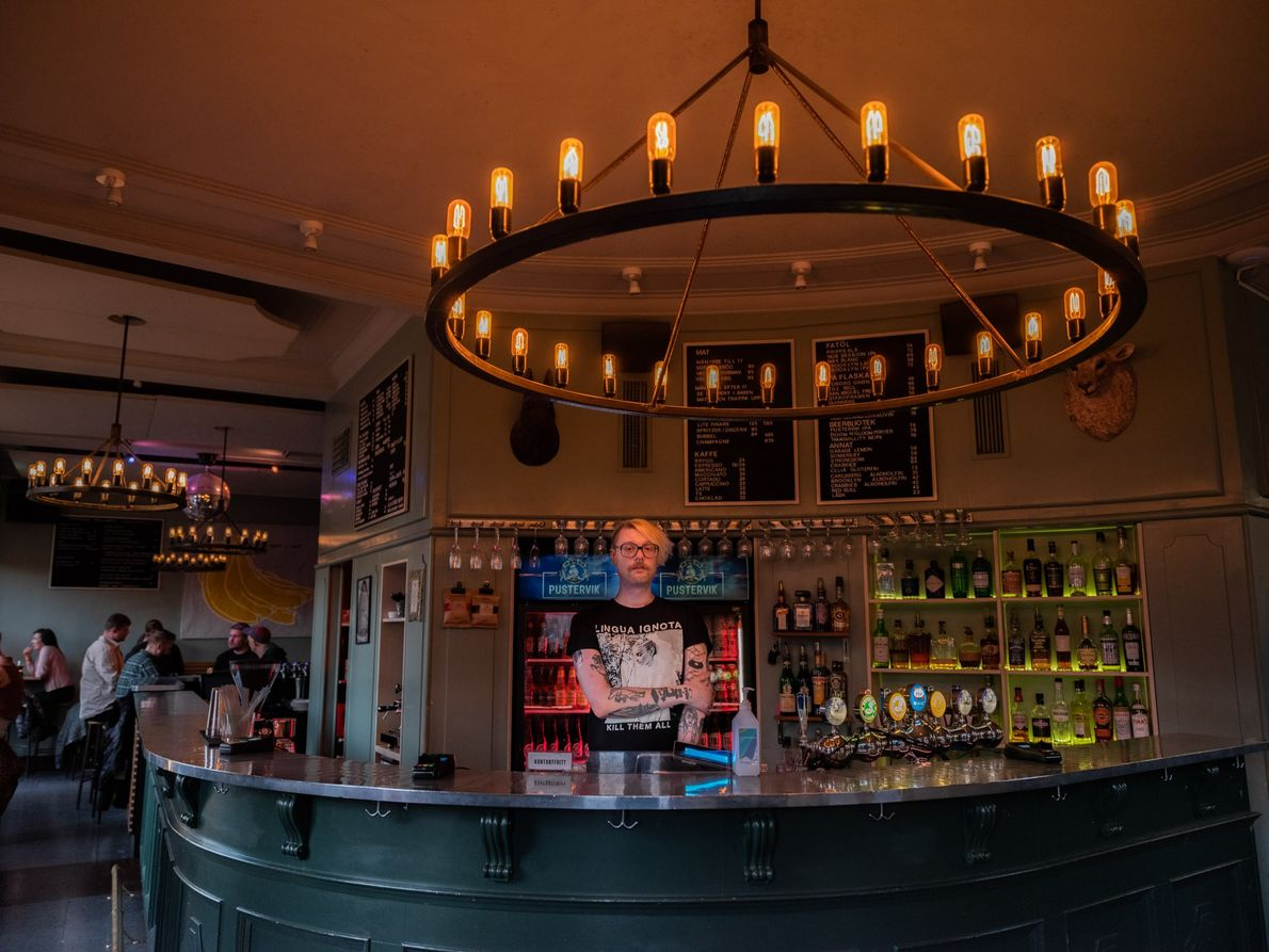 Fredrik Flegar manages the bar at Pustervik, where his hours have been reduced by 80 percent ...
