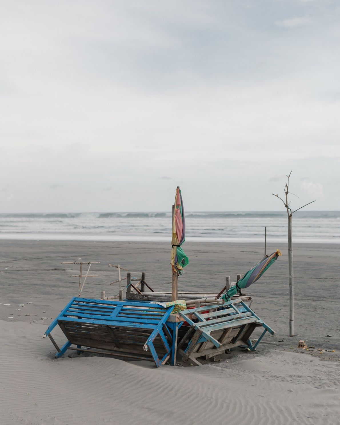 Makeshift food stall at the deserted Parangtritis Beach at the southern coast of Yogyakarta. A popular ...