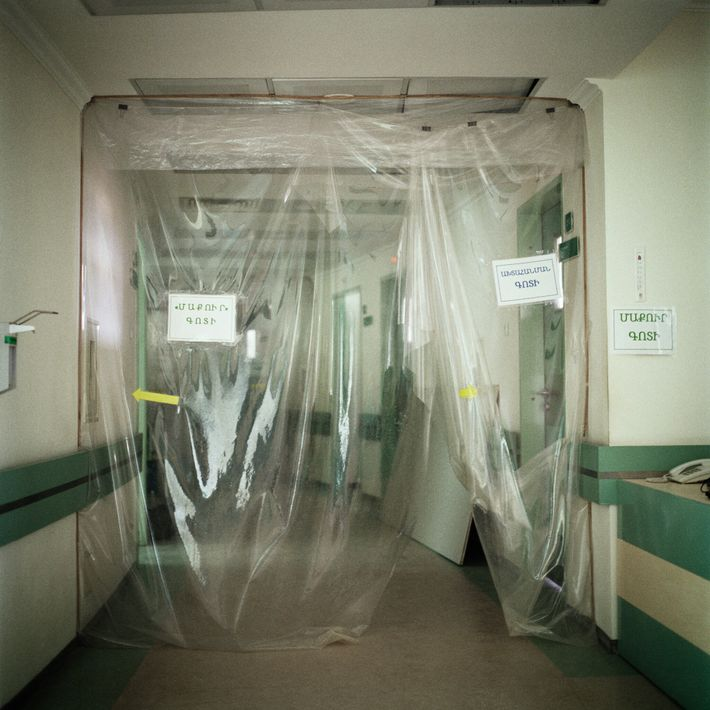 The COVID-19 ward at the Republican Medical Center was abandoned after it was damaged by shelling.