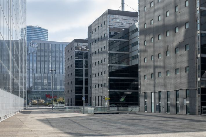 Six days after the order for people to stay home, La Defense, the business district of ...