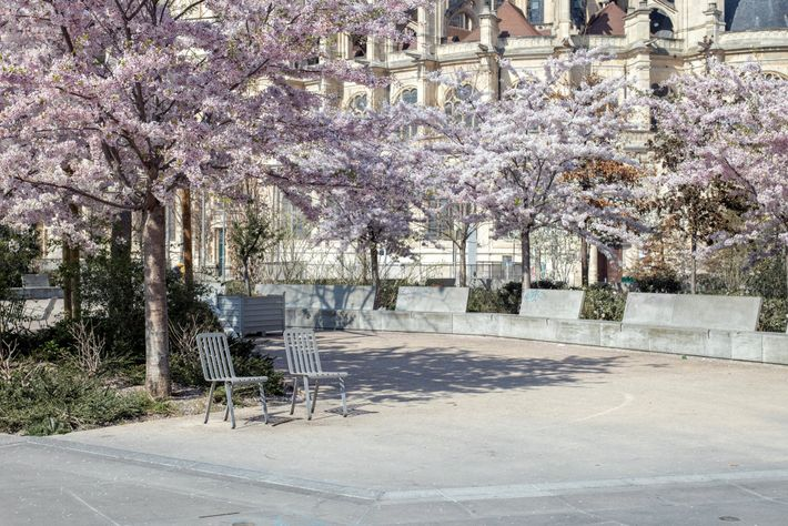 Parkgoers confined indoors are missing the glory of spring in the Jardin des Halles in the ...