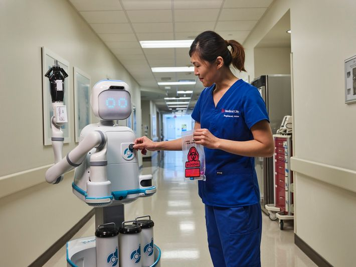 Even before the pandemic, Medical City Heart Hospital in Dallas, Texas, was testing Moxi, a robot ...