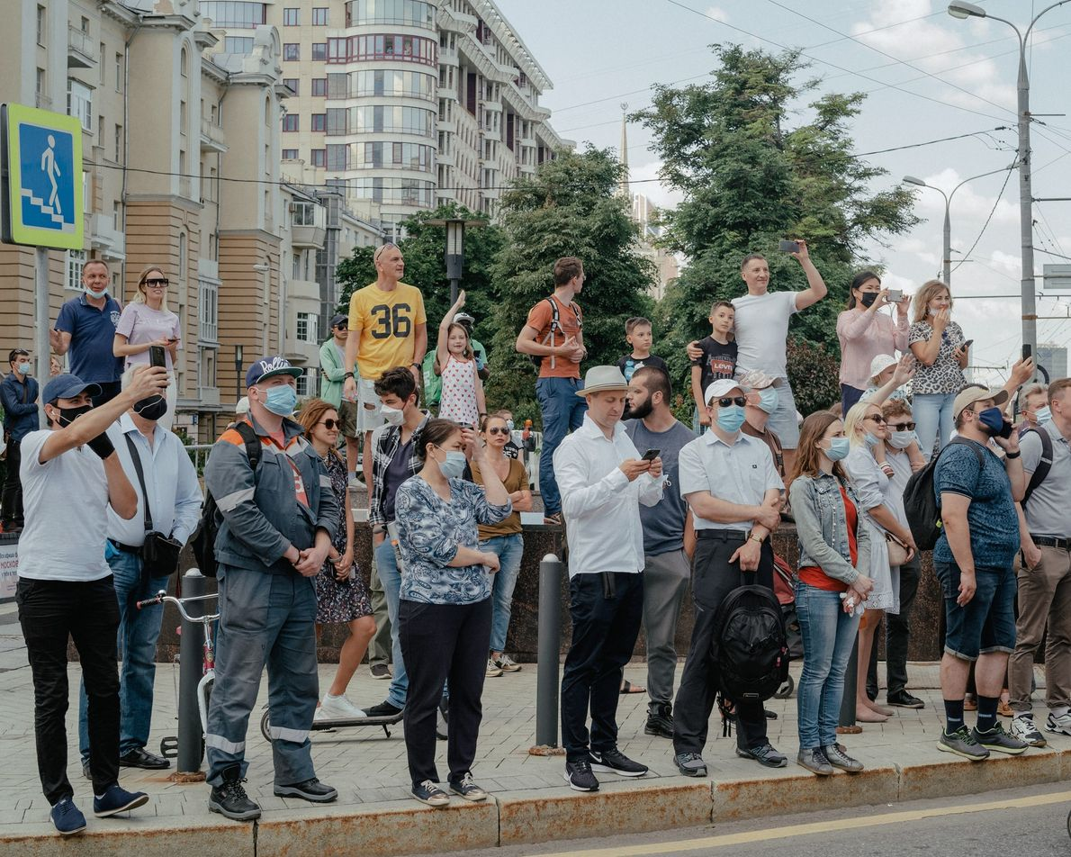 After self-isolation orders lifted in Moscow, the Victory Day parade finally filled streets and sidewalks on ...