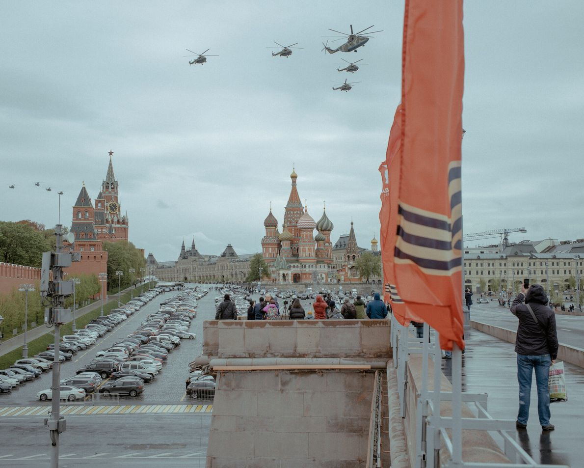 Military planes fly over Moscow's Red Square on Victory Day to commemorate Germany's surrender in World ...