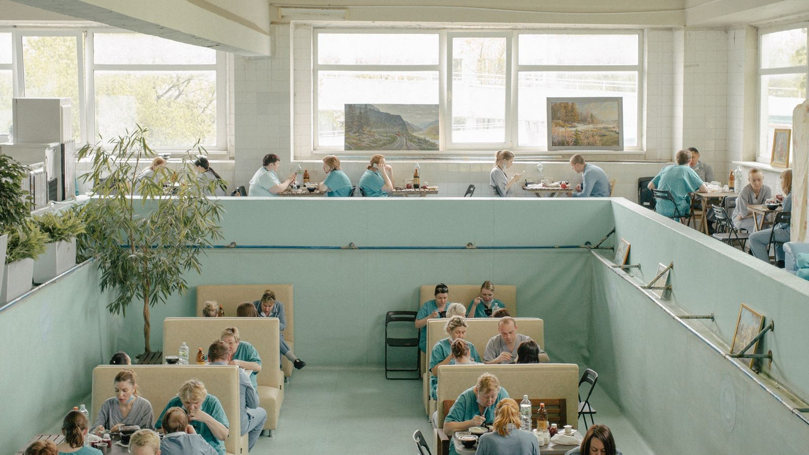 An indoor swimming pool was emptied and repurposed as an employees' dining area at Moscow's Hospital ...