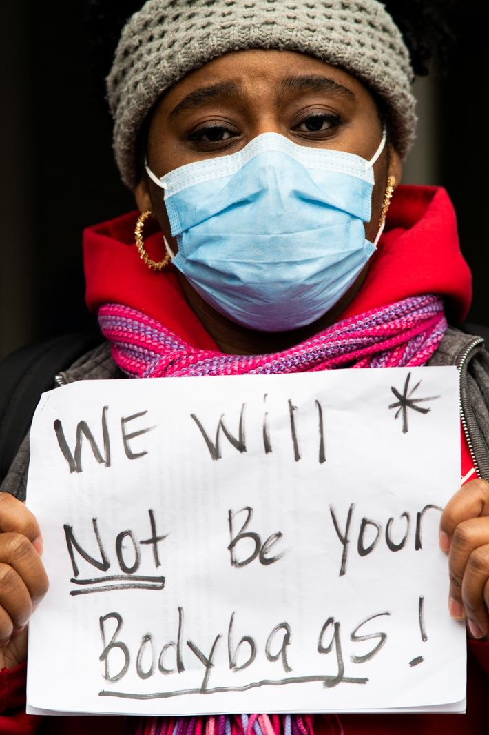 In April, Sasha Winslow, a registered nurse, joined other healthcare workers to protest dangerous working conditions ...
