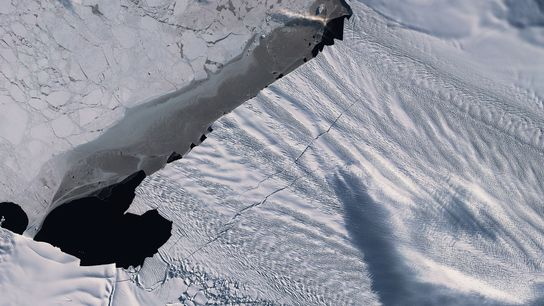 This image shows two cracks in the Pine Island Glacier seen by the Copernicus Sentinel-2 satellite ...