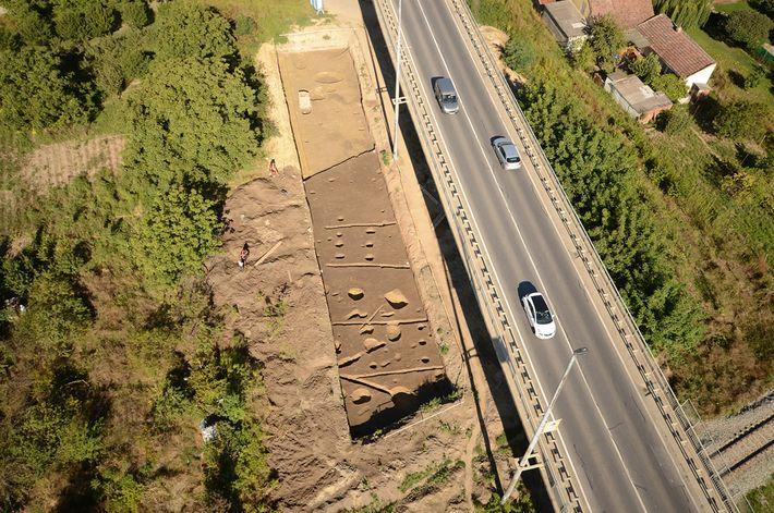An aerial photo of the burial site at Hermanov vinograd near Osijek in eastern Croatia.