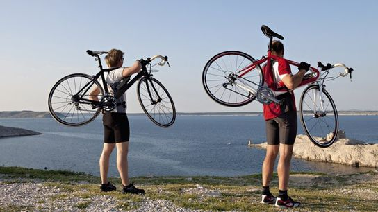 Cyclists in Croatia.