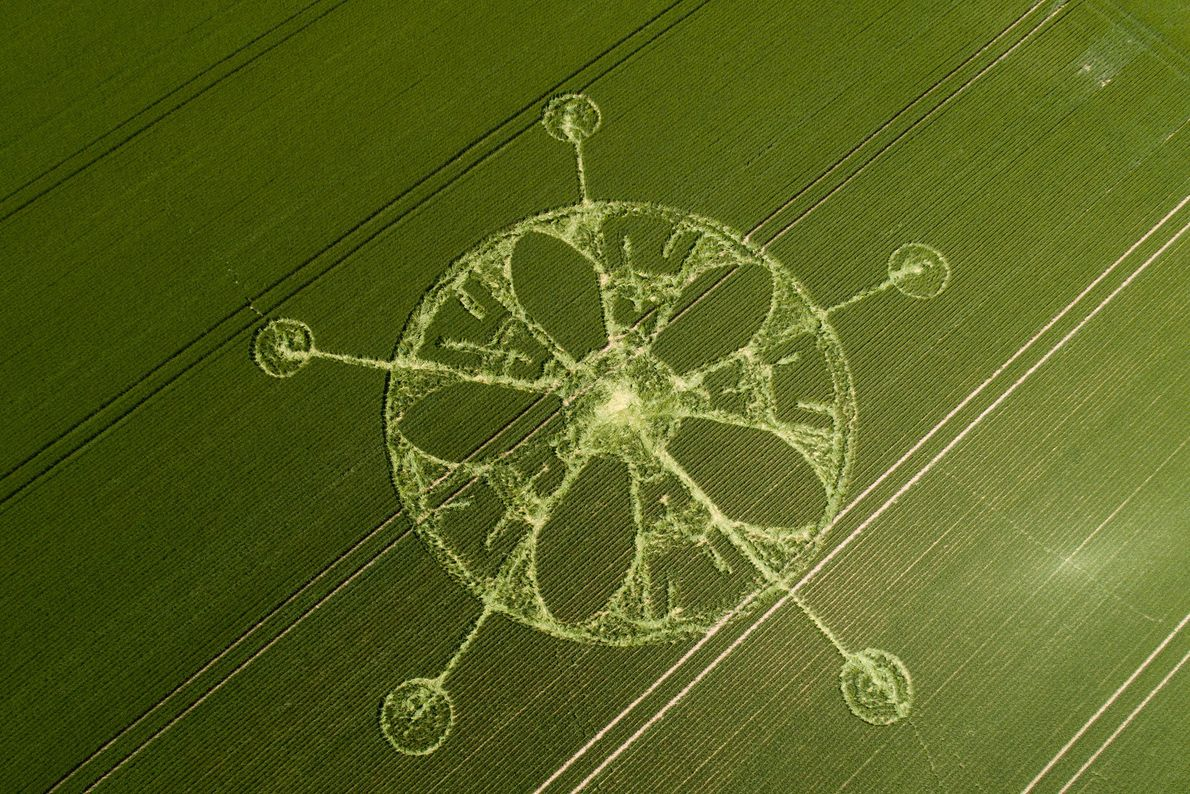 A crop circle near Winterbourne Stoke Down, Stonehenge, Wiltshire, is carved into a verdant field.