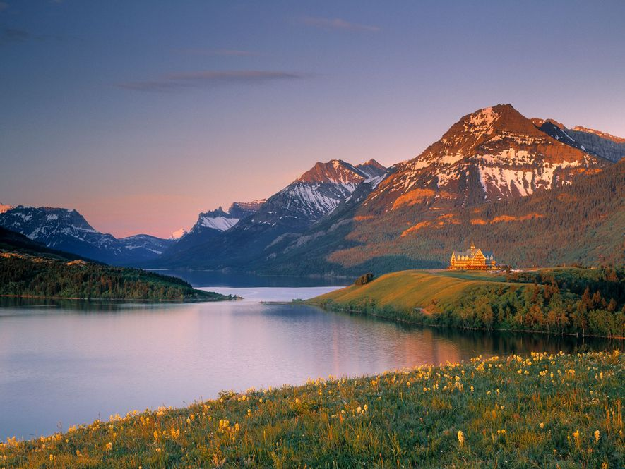 The Prince of Wales Hotel sits on the shore of Middle Waterton Lake in Alberta's Waterton Lakes National Park.