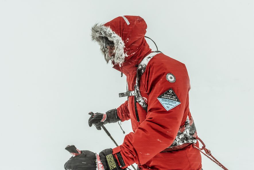 Rudd is motivated to finish the expedition his friend Henry Worsley was attempting in 2016 when he called for rescue and later died. Worsley was just 126 miles short of claiming the first solo, unsupported crossing of Antarctica. In honour of his friend Rudd carries Worsley's family flag with him.
