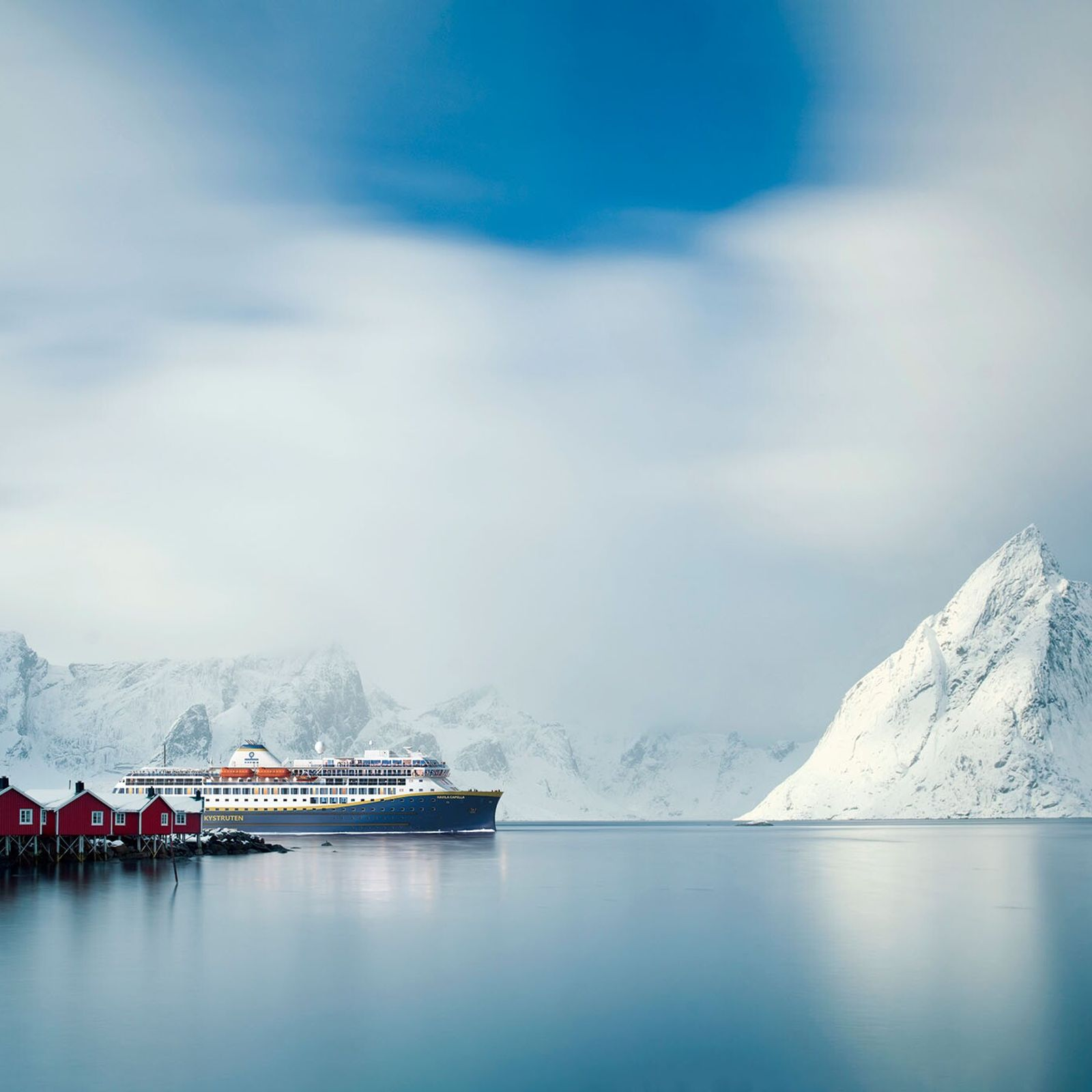 Lofoten in Norway is known for its colourful fishing villages and dramatic mountain scenery.