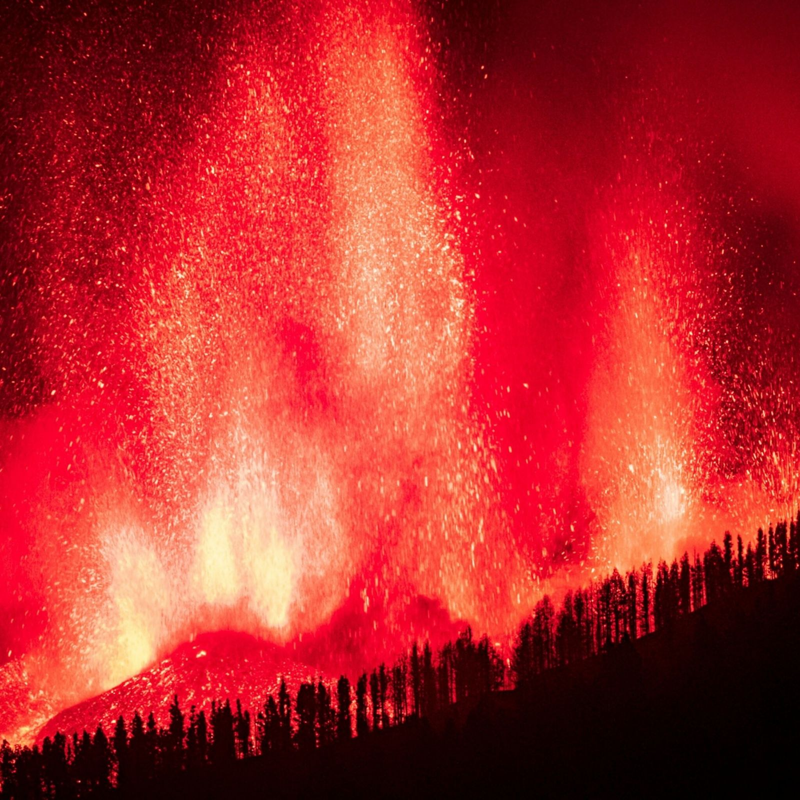 Lava flows following the Cumbre Vieja eruption on La Palma in the Canary Islands. The ongoing ...