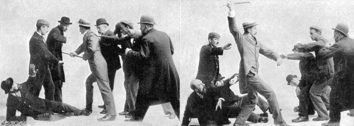 Illustrations from an article demonstrating the practice of 'Bartitsu' – the martial art developed by British ...