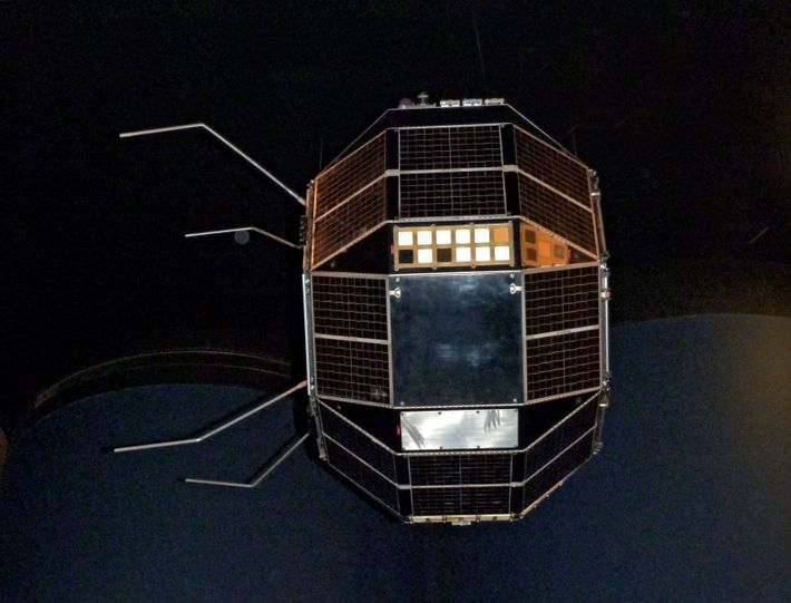 A spare unit of the Prospero X-3, the first British satellite launched by a British rocket. ...