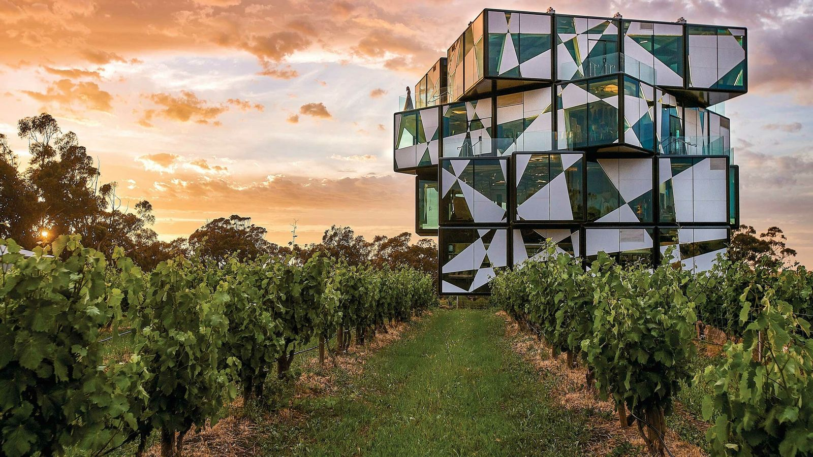 The d'Arenberg Cube is an innovative building set in the d'Arenberg vineyards, with the five levels including ...