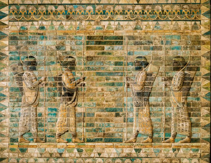 Frieze of Archers (detail) made of glazed brick, from the palace of Darius I in Susa, ...