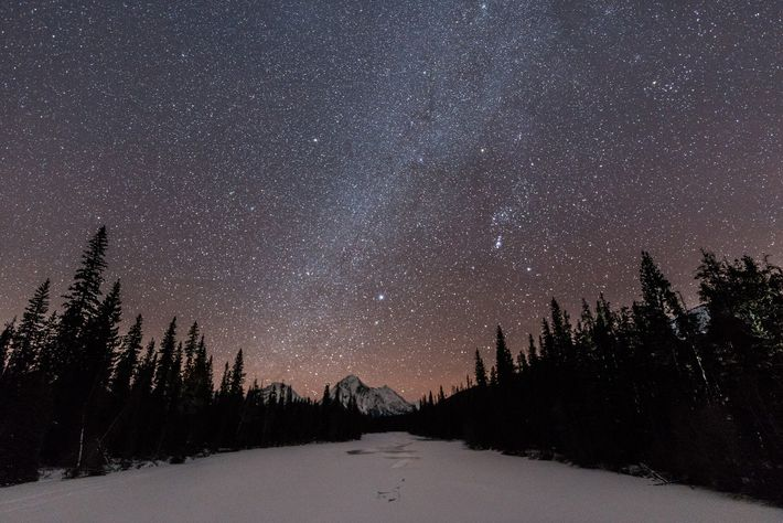 View of the Milky Way in Jasper National Park.