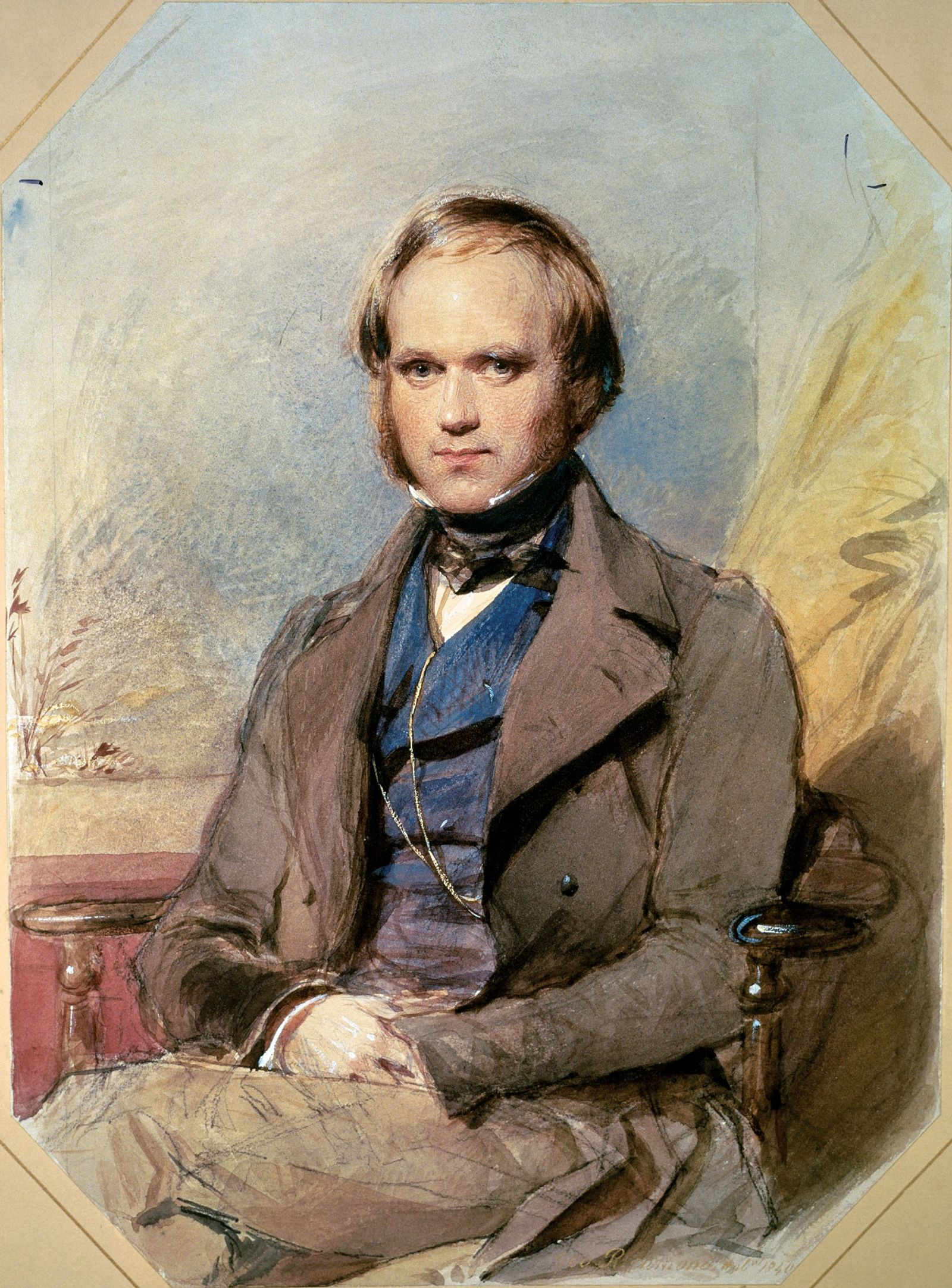 Charles Darwin's portrait was painted in 1840 by George Richmond, four years after  he returned from ...