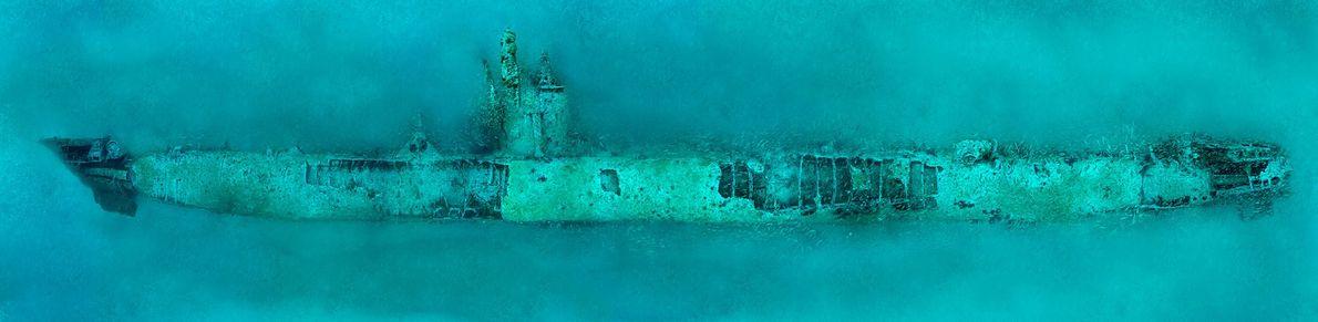 German submarine U-352 lies on the bottom of the Atlantic off Morehead City, North Carolina. The ...