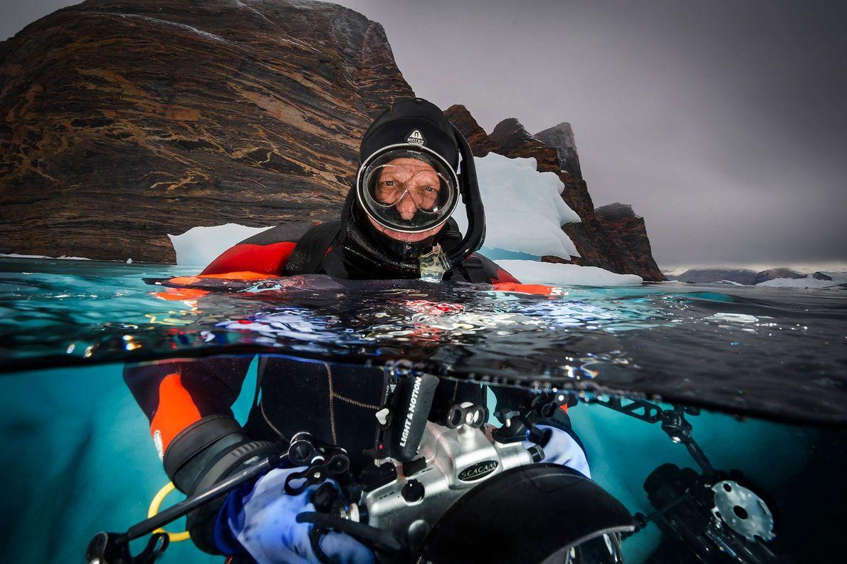 David Doubilet photographs icebergs near Red Island, Scoresbysund Fjord, East Greenland.
