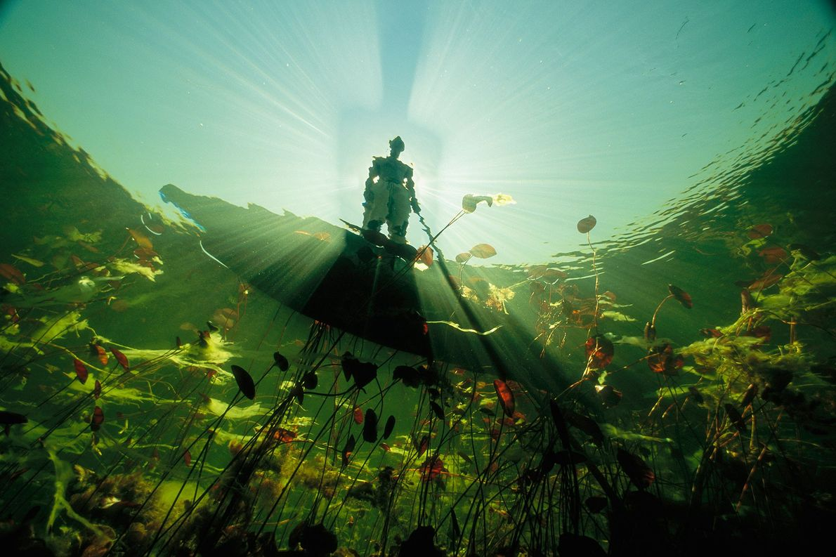 A Bayei fisherman in a mokoro, silhouetted by the midday sun, casts a long shadow on ...