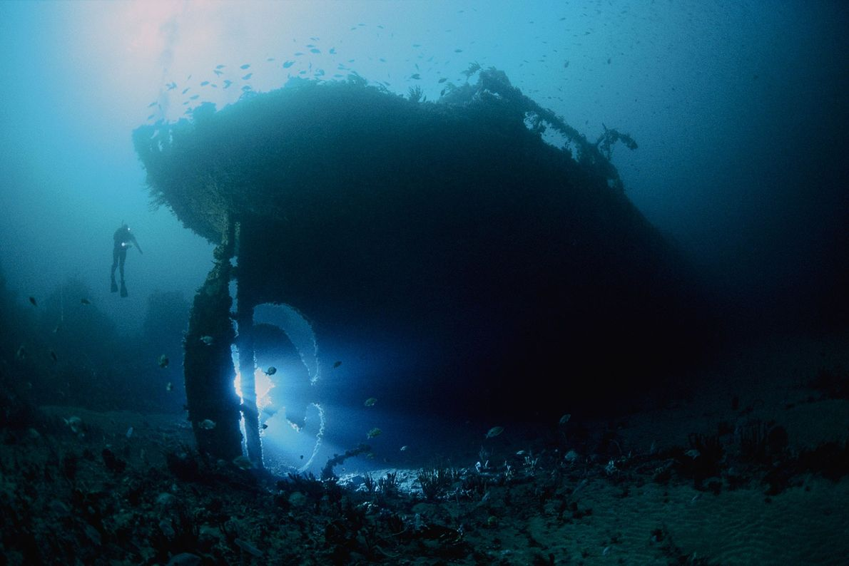 The SS Nord, an 82-meter case oil tanker, sunk in 1915. The wreck sits upright near ...
