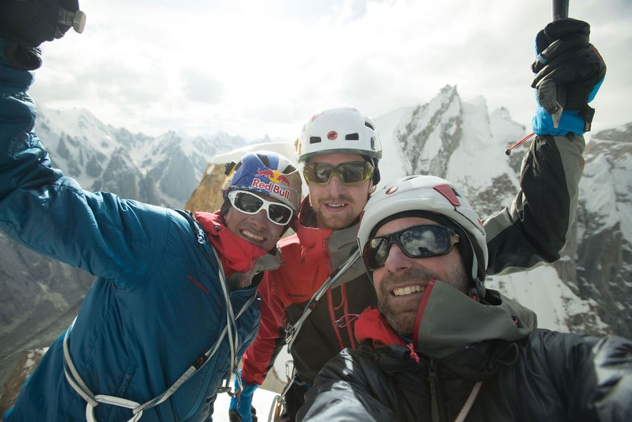 David Lama, Peter Ortner, and Corey Rich in Pakistan. Climbing Trango Towers on the north side ...