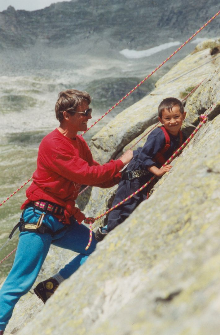In 1995 legendary Austrian mountaineer Peter Habeler (left) invited Lama, then five years old, to join ...