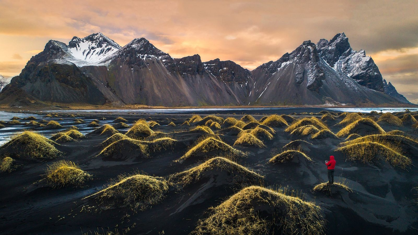 """Vestrahorn, Iceland. """"This image is the newest addition to my Dronie (Drone Selfie) series. We visited Vestrahorn ..."""
