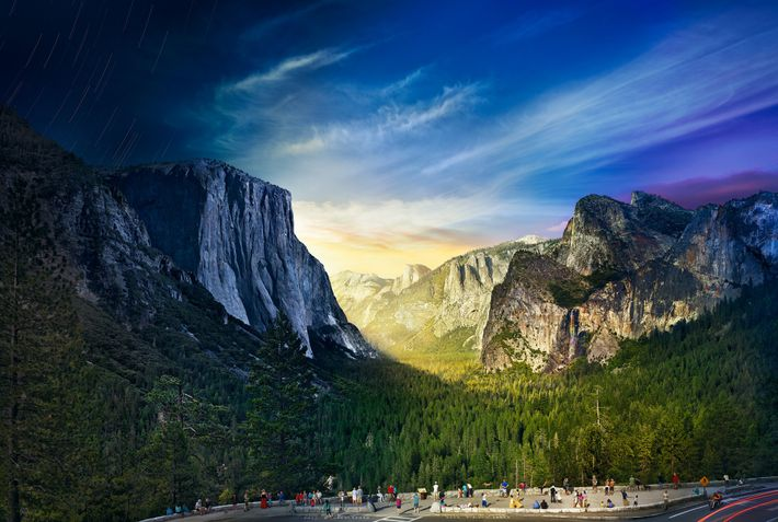 On a mountainside in Yosemite National Park, photographer Stephen Wilkes took 1,036 images over 26 hours ...