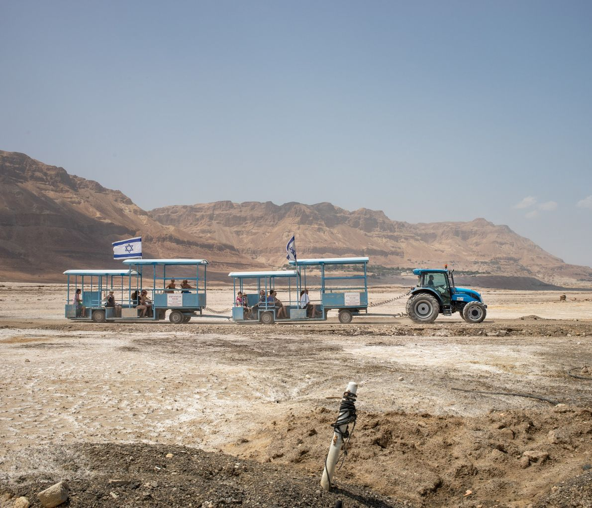 Due to the reduction in the Dead Sea's level, the water has receded more than a ...