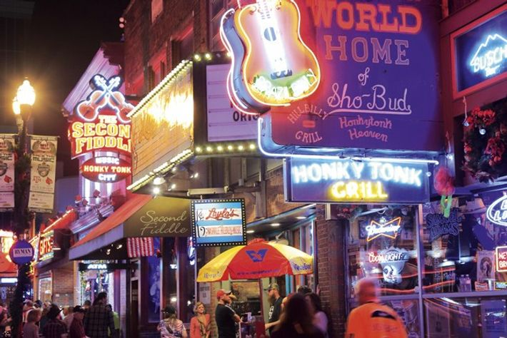 Night lights of Broadway in downtown Nashville
