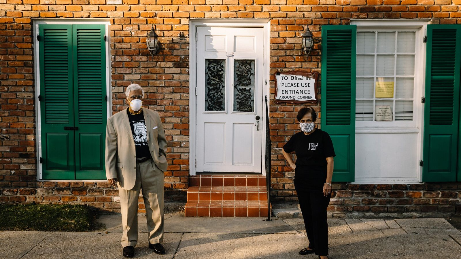 Edgar Chase III and his sister, Stella Chase Reese, stand in front of Dooky Chase's Restaurant, ...
