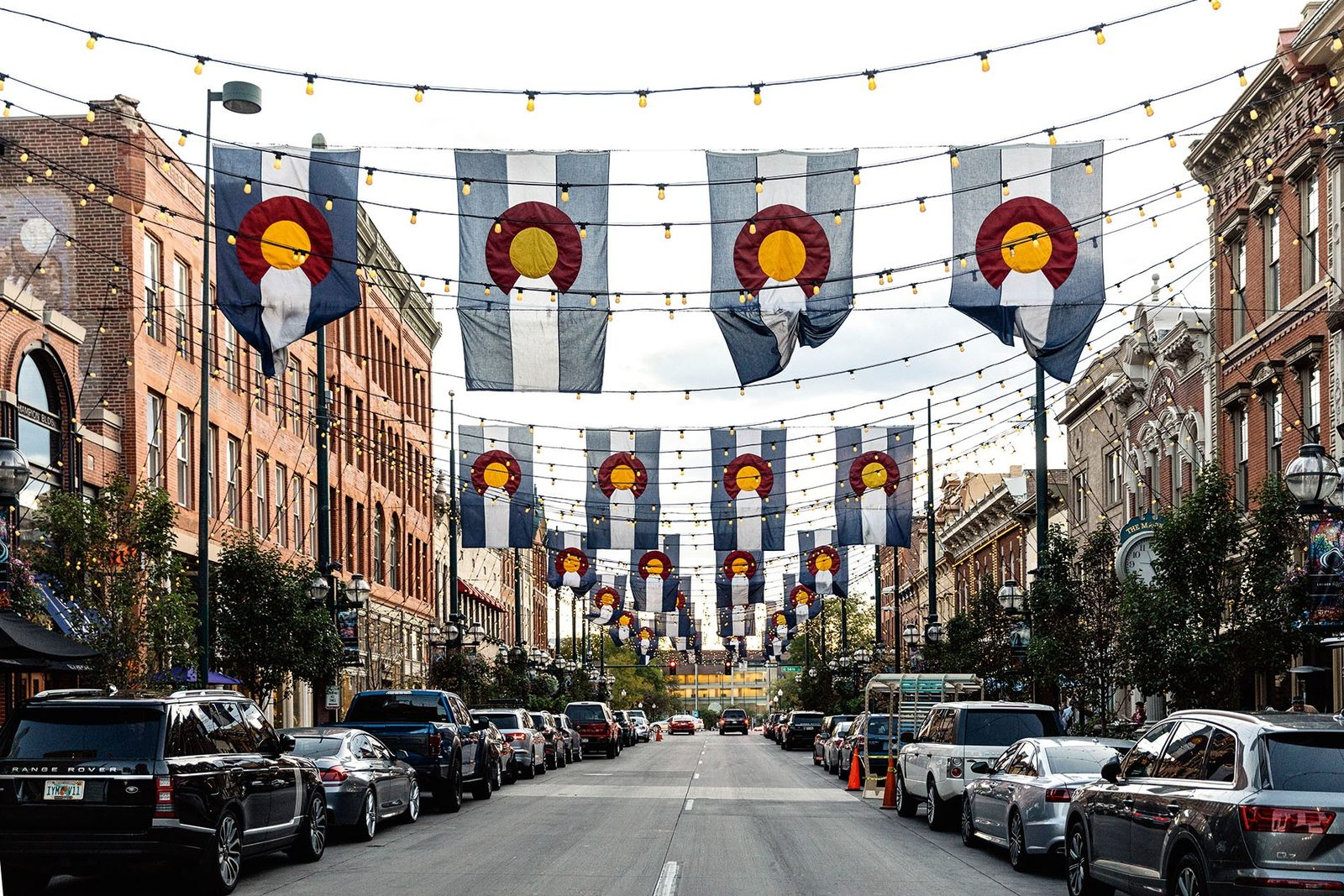 Flags fly over Denver's historic Larimer Square.