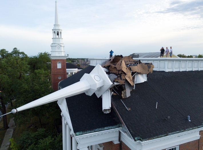 The steeple at College Church in Wheaton, Illinois, was toppled during a derecho on Monday, August ...