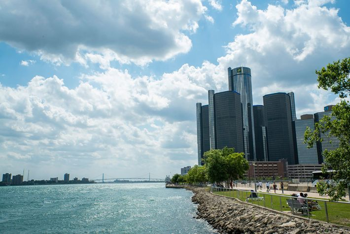 Detroit River waterfront.