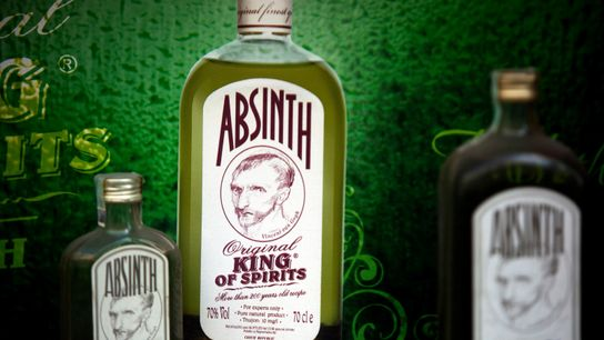 Absinthe bottles in Prague, featuring infamous enthusiast Vincent van Gogh.