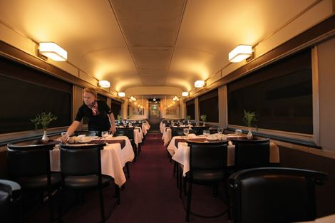 The dining room aboard the Via Rail.