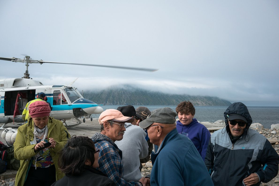 Russians arrive for a family reunion in Little Diomede. During the Cold War, Russia relocated Big ...