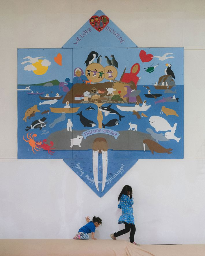 This mural in the gym of Diomede School symbolises the relationship between Little and Big Diomede ...