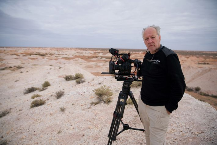 Werner Herzog on location for his new documentary Nomad: In the Footsteps of Bruce Chatwin, about ...