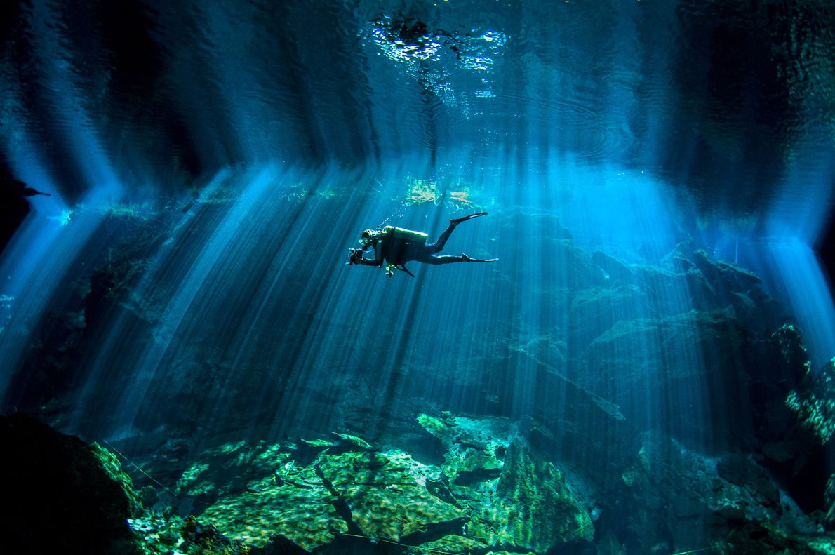 A diver swims in Chac Mool cenote in Mexico.