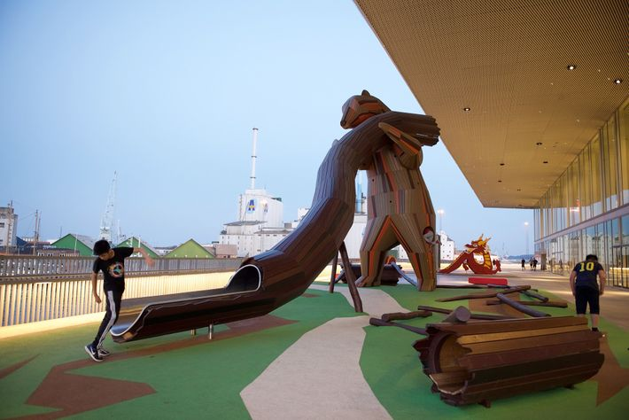 Each section of playground Kloden in Aarhus showcases different cultures and regions of the world.