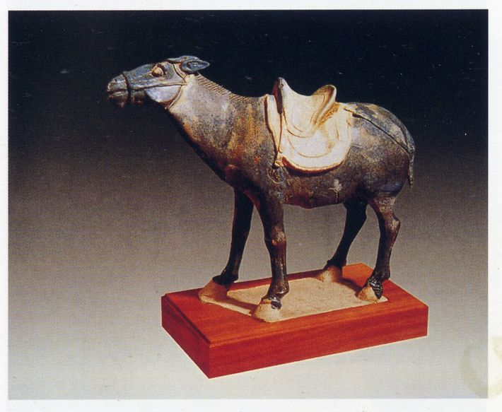 A Tang-era figurine of a donkey.