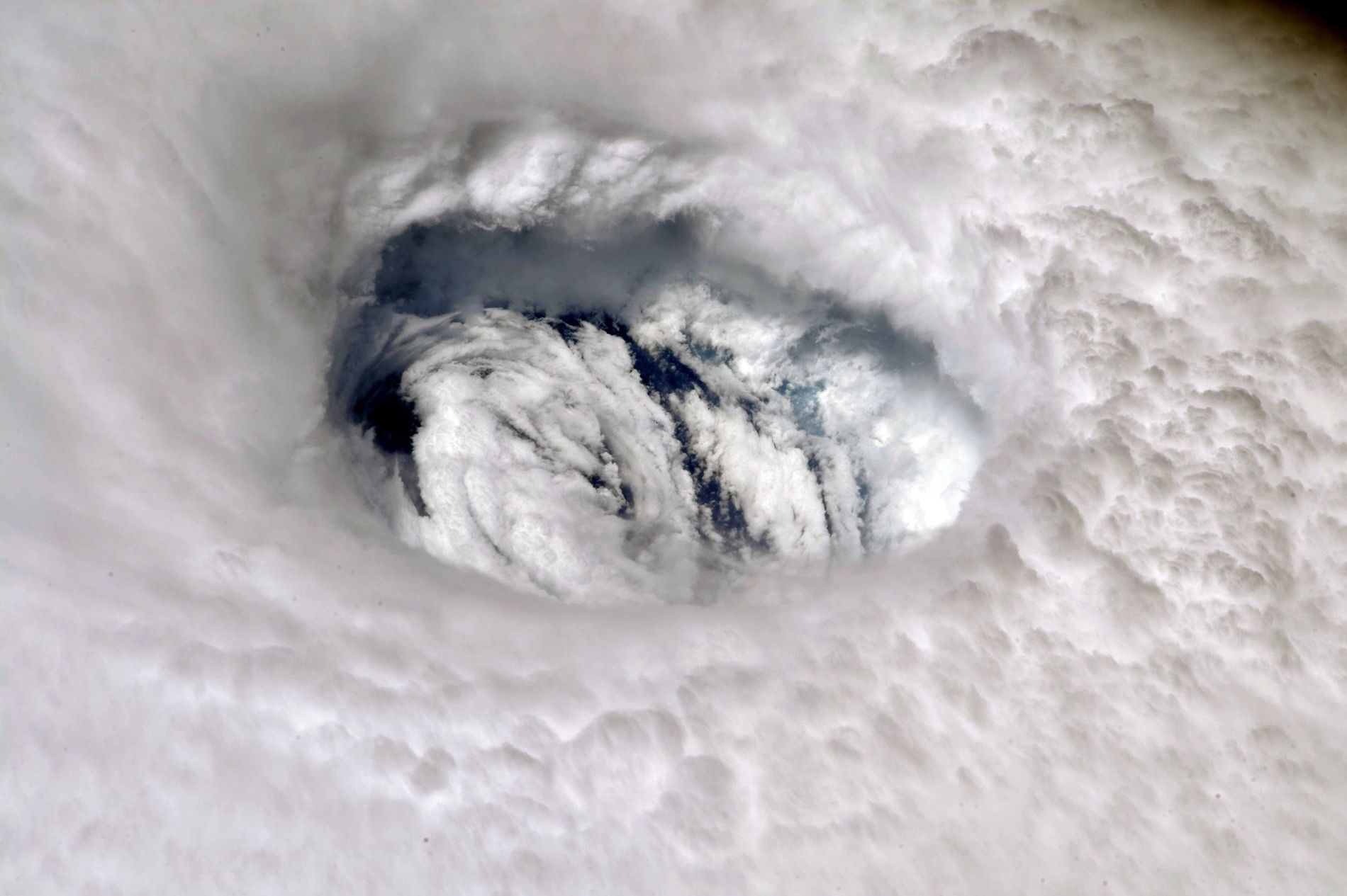Hurricane Dorian's eye seen from the International Space Station.