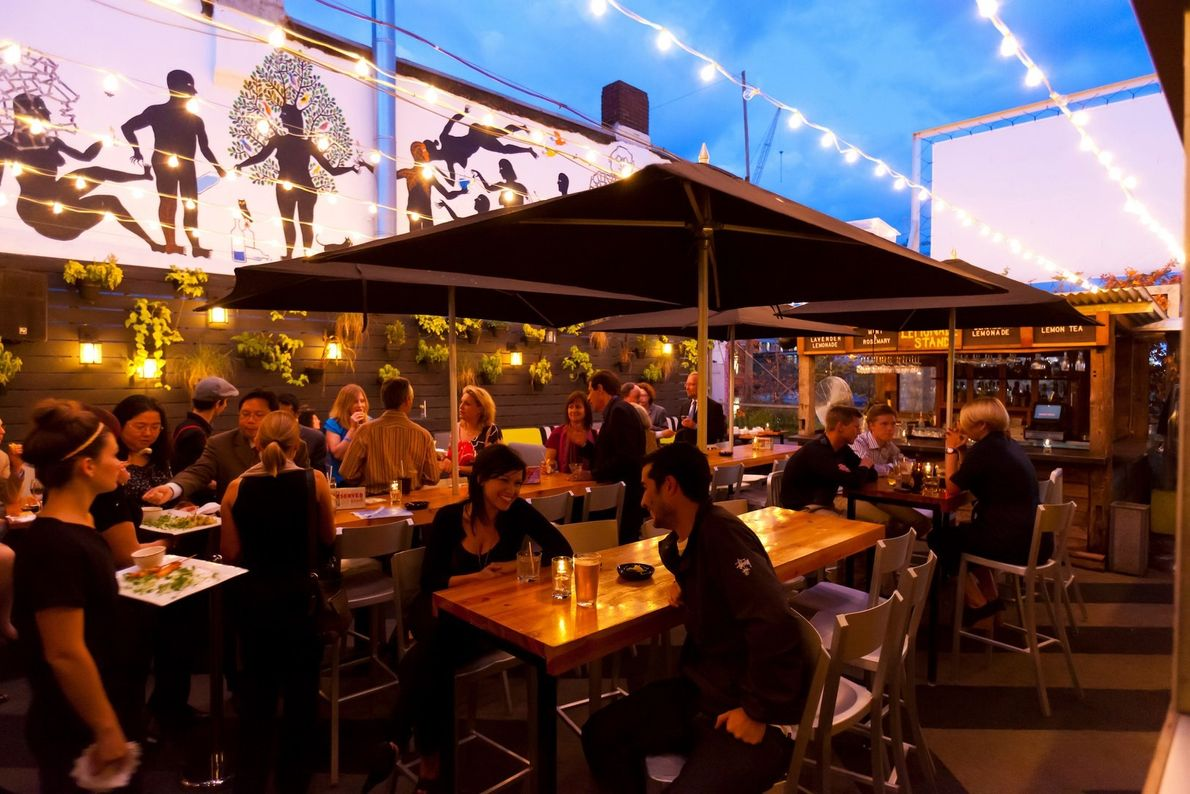 The Sky Yard, an ultra-trendy rooftop eatery and bar, is located on the top of the ...