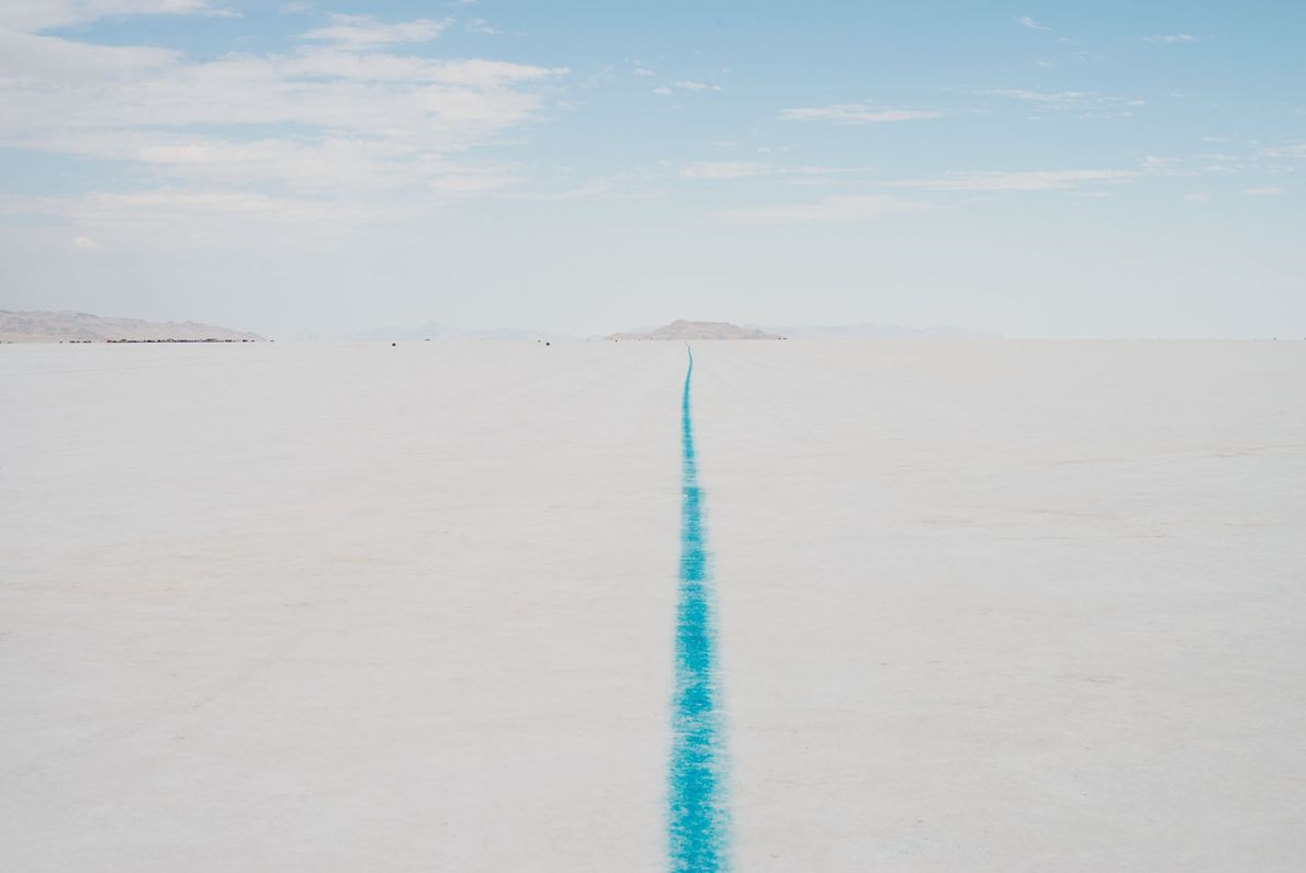 Utah's Bonneville Salt Flats comprise some 46 square miles of hard, white crust west of Great ...