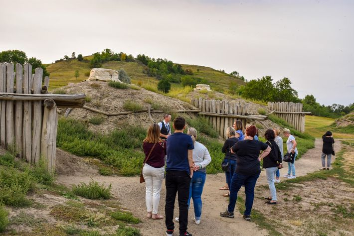 A group visit the On A Slant Indian Village in the Fort Abraham Lincoln State Park, ...
